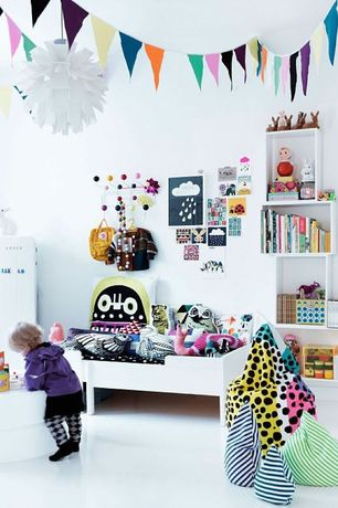 Contemporary Kids Bedroom with White boxed book shelf, Standard height, no bedroom feature, Pendant light, Concrete floors