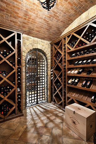 Traditional Wine Cellar with flush light, specialty door, Built-in bookshelf, sandstone floors