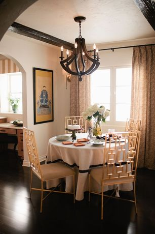 Traditional Dining Room with Hardwood floors, Crown molding, Exposed beam, Chandelier, Wall sconce