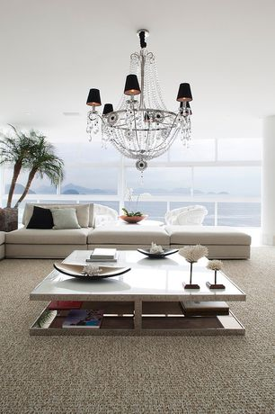 Contemporary Living Room with Carpet, Standard height, can lights, Columns, Chandelier, picture window