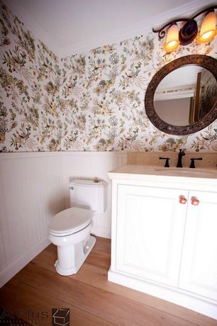 Traditional Powder Room with Flat panel cabinets, Specialty Tile, Wainscotting, Hardwood floors, Powder room, Undermount sink