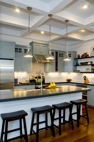 Traditional Kitchen with Floating shelves, Glass panel, Breakfast bar, Farmhouse sink, Kitchen island, Flat panel cabinets