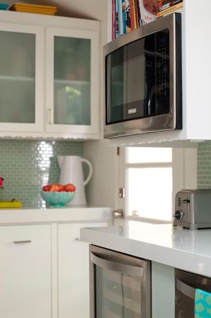 Contemporary Kitchen with Quartz counters, Paint 1, L-shaped, full backsplash, Glass Tile, Inset cabinets, built-in microwave