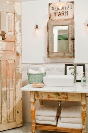 Rustic Powder Room with Carrara marble countertop, Vessel sink, wall-mounted above mirror bathroom light, Powder room, Flush