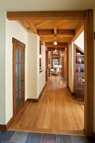 Country Hallway with Hardwood floors, French doors, Exposed beam, Built-in bookshelf, flush light, Ms international jak slate