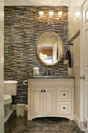 Traditional Powder Room with Undermount sink, Flat panel cabinets, Arteriors laurel gold leaf oval mirror, Ceramic Tile
