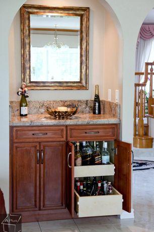 Traditional Bar with stone tile floors, travertine tile floors, High ceiling