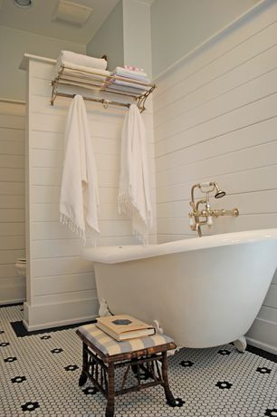Cottage Full Bathroom with penny tile floors, Clawfoot, Cheviot 54 inch cast iron slipper clawfoot tub with white feet