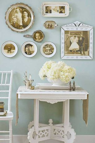 Traditional Hallway with High ceiling, Personalized gold rimmed plates, Personalized gold rimmed plates, White side chair