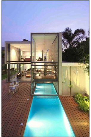 Contemporary Swimming Pool with Lap pool, Fence