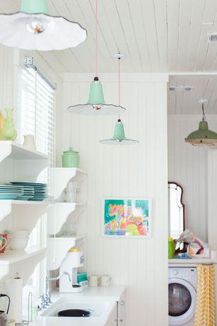Cottage Laundry Room with flush light, Warehouse fabrics zig zag corn yellow slub, Pendant light, Built-in bookshelf