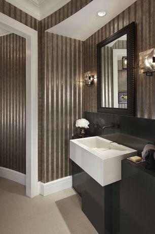 Powder Room with Simple Granite, Wallpaper, Samson genesis floor and wall tile in avana