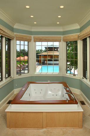 Traditional Master Bathroom with Whirlpool bathtub, travertine tile floors, Paint 1
