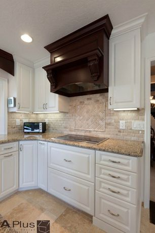 Traditional Kitchen with Cabot tuscany walnut / pattern set / tumbled, MS International  Giallo Veneziano Granite