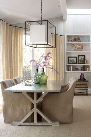 Contemporary Dining Room with Z gallerie deluca stainless dining table, Paint, Built-in bookshelf, can lights, flush light