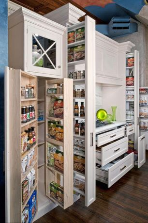 Traditional Pantry with Standard height, Hardwood floors, can lights, Built-in bookshelf, interior wallpaper