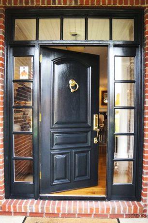 Traditional Front Door with Pathway, Baldwin - Vintage Brass Ring Style Solid Brass Door Knocker, Transom window