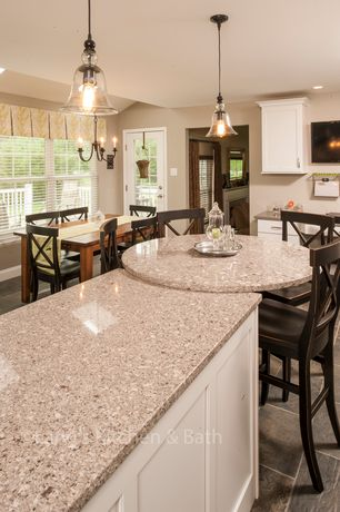Traditional Kitchen with Casement, Breakfast bar, MS International Peach Purse Granite, Flush, Simple granite counters