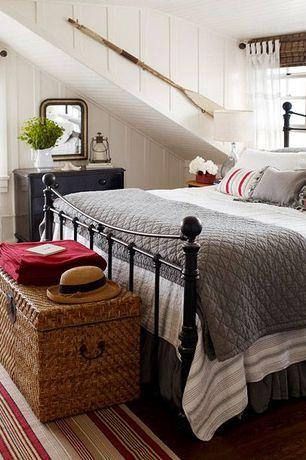 Cottage Master Bedroom with West Elm Imogene Metal Bed - Gunmetal, Hardwood floors, West Elm Belgian Linen Quilt