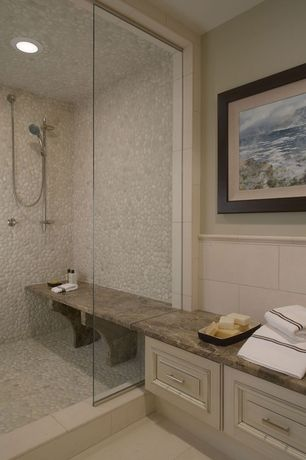 "Contemporary Master Bathroom with Takla Full Body Porcelain Tile - Earth Series - Made in USA Sea Salts / 12""x24"""