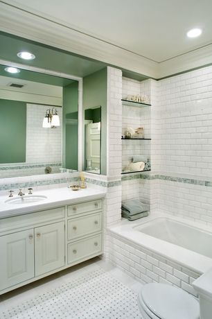 Traditional Full Bathroom with Undermount sink, Simple marble counters, Raised panel, Inset cabinets, ceramic tile floors