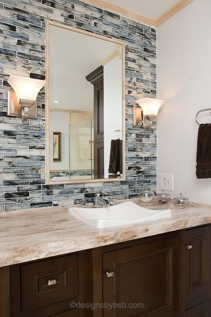 Contemporary Master Bathroom with Standard height, full backsplash, Flat panel cabinets, Inset cabinets, Subway Tile, Shower