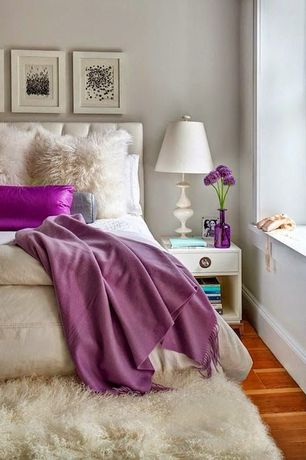 Eclectic Master Bedroom with Faux fur throw, Cashmere throw blanket, Paint, Mongolian pillow natural, Standard height