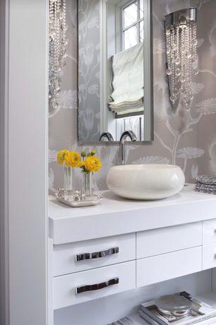 Art Deco Powder Room with Vessel sink, Wall sconce, European Cabinets, Casement, Powder room, Standard height, Flush