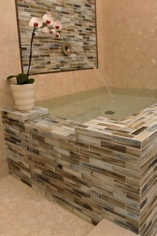 Contemporary Master Bathroom with Crema Marfil Marble 2x2 Hexagon Mosaic Tile Honed, Master bathroom, penny tile floors