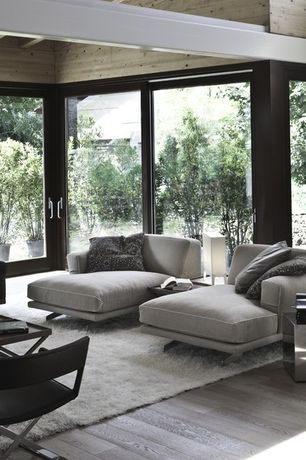 Modern Living Room with Belgian track arm upholstered chaise, sliding glass door, Exposed beam, Standard height, Paint 1