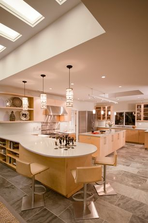 Contemporary Kitchen with Undermount sink, Pendant light, 2 in. Solid Surface Countertop in Venaro White, Kitchen island