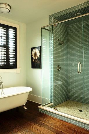 Contemporary Master Bathroom with Hardwood floors, American Olean Legacy Glass Pewter Field Tile, flush light, Clawfoot