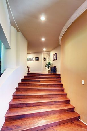 Eclectic Staircase with Floating staircase, Hardwood floors
