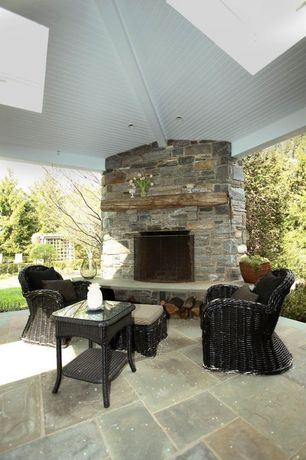 Country Porch with Skylight, outdoor pizza oven, Wrap around porch, exterior stone floors