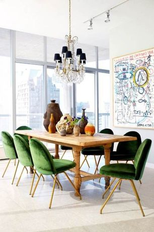 Contemporary Dining Room with Chandelier, Concrete floors, picture window, flush light, Standard height