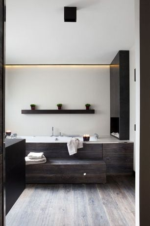 """Modern Full Bathroom with Hardwood floors, Teragren Synergy 3-3/4"""" Bamboo Flooring in Java"""