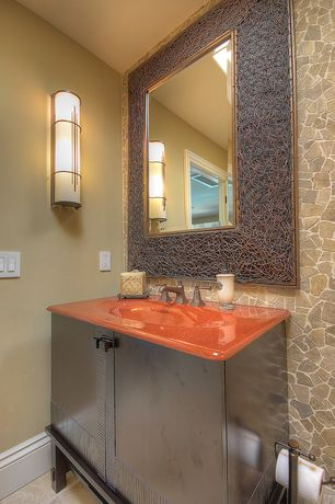 Modern Powder Room with Corian counters, Flush, High ceiling, Wall sconce, Powder room, European Cabinets, Undermount sink