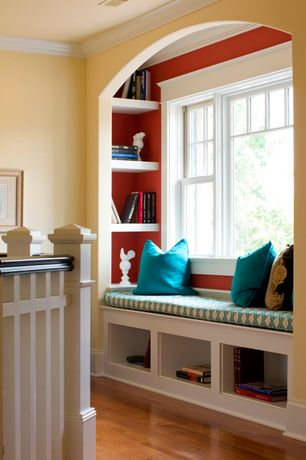 """Traditional Hallway with Built-in bookshelf, Room Essentials Suede Pillow 2-Pack (18""""square), Crown molding, Wood banister"""