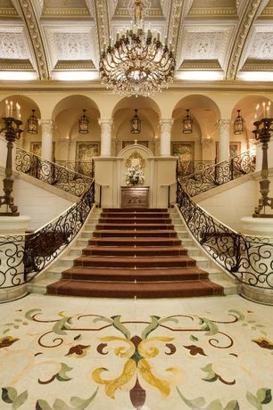 Mediterranean Staircase with Chandelier, simple marble floors, Pillars, Columns, Stair carpet runner, Deck Railing