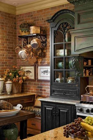 Country Kitchen with Raised panel, Glass panel, Crown molding, Brick wall, Inset cabinets, Granite countertop