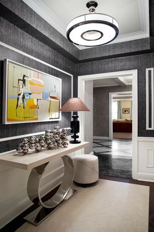 Contemporary Hallway with Standard height, Wainscotting, Paint, Area rug, Pendant light, Concrete floors, Ceiling molding