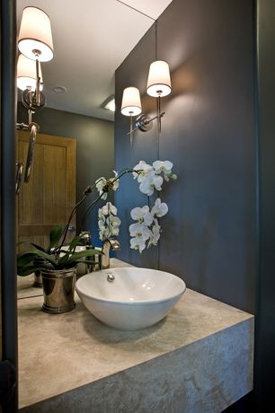 Contemporary Powder Room with Standard height, Sadie 1-light satin nickel wall sconce, Mirror wall, Vessel sink, flush light