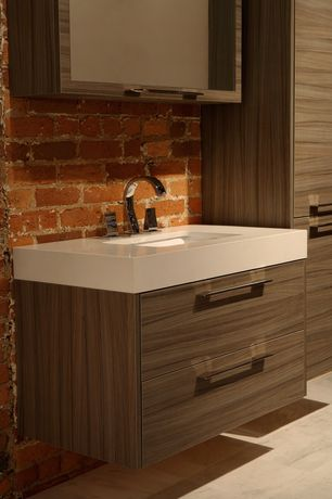 Contemporary Full Bathroom with Interior brick wall, VitaElegante Bianco 12 in. x 24 in. Porcelain Floor and Wall Tile