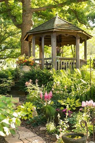 Cottage Landscape/Yard with Gazebo, Deck Railing, Pathway, Raised beds, Handy home products 10 ft. san marino round gazebo