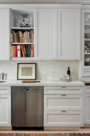 Contemporary Kitchen with Built-in bookshelf, Complex marble counters, Undermount sink, One-wall, Complex Marble