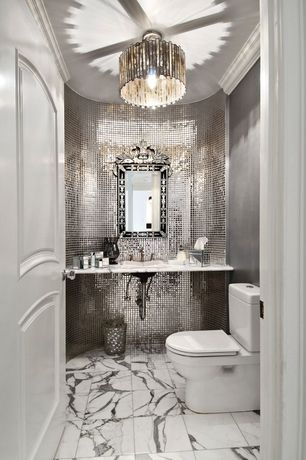 Art Deco Powder Room with Standard height, complex marble tile floors, full backsplash, stone tile floors, Calacatta Gold