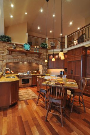 Rustic Kitchen with Built In Panel Ready Refrigerator, built-in microwave, Undermount sink, High ceiling, Breakfast bar, Loft