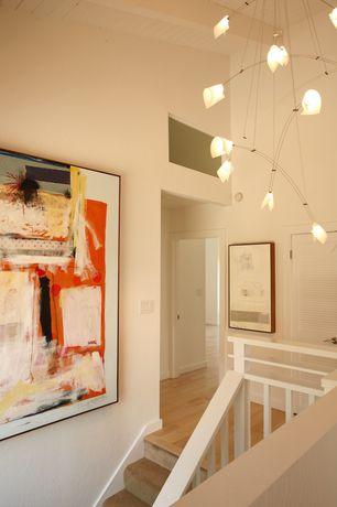 Contemporary Hallway with Chandelier, Loft, Torroja by David Weeks Studio, High ceiling, Laminate floors, Built-in bookshelf