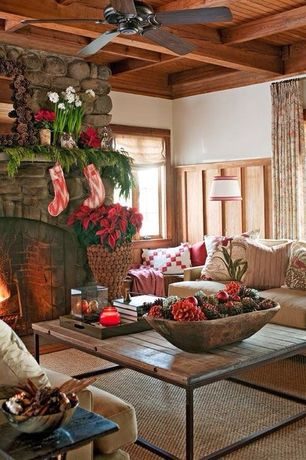 Country Living Room with Decorative Vintage Wooden Indoor Outdoor Basin Tub Flower Bowl Kitchen Bucket, stone fireplace