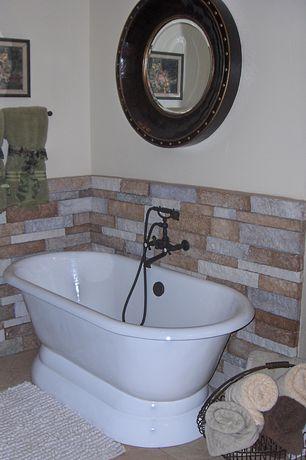Eclectic Master Bathroom with Master bathroom, Freestanding, Wescott Dual Soaking Bathtub by Giagni, limestone tile floors